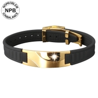 D008 Health Gold Spring Clasp Power Hologram Bracelet (unisex)-D008