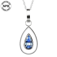 D019 Health Water Drops Shape Blue Crystal Pendant Necklace (lady)-D019